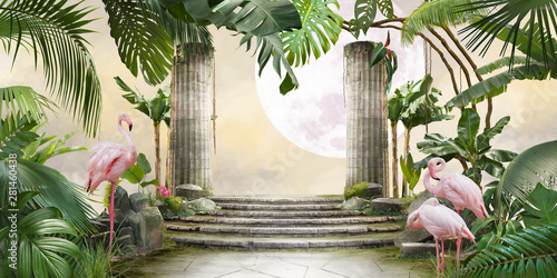 Photo moon and flamingo background design with tropical palm and banana leaves, can be