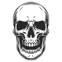 Vintage Monochrome Human Skull Template