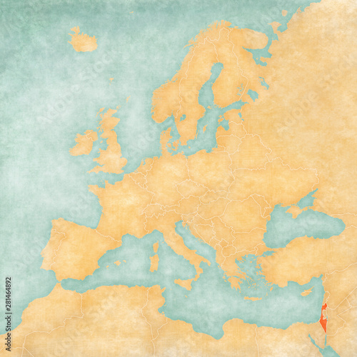 Map of Europe - Israel Canvas Print