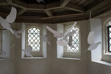 Wooden Doves Flying In Dove Cote