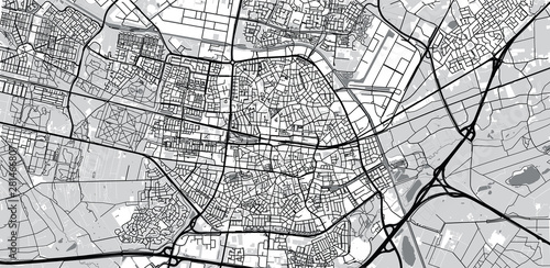 Photo Urban vector city map of Tilburg, The Netherlands