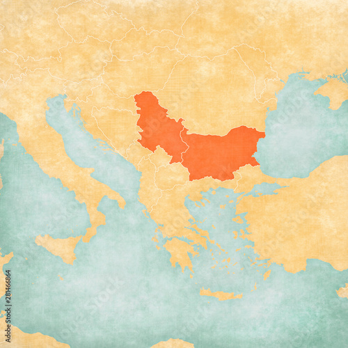 Photo Map of Balkans - Bulgaria and Serbia