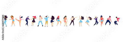 Crowd of young people dancing at club. Big set of characters having fun at party. Flat colorful vector illustration. - 281470466