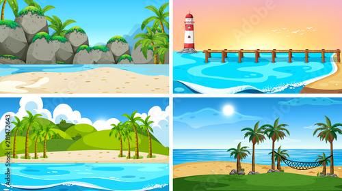 Poster Jeunes enfants Set of tropical ocean nature scenes with beaches
