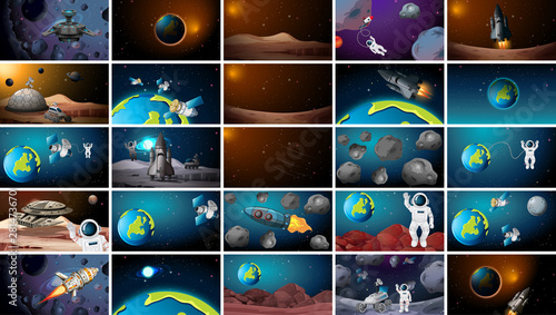 In de dag Kids Large set of different space scenes