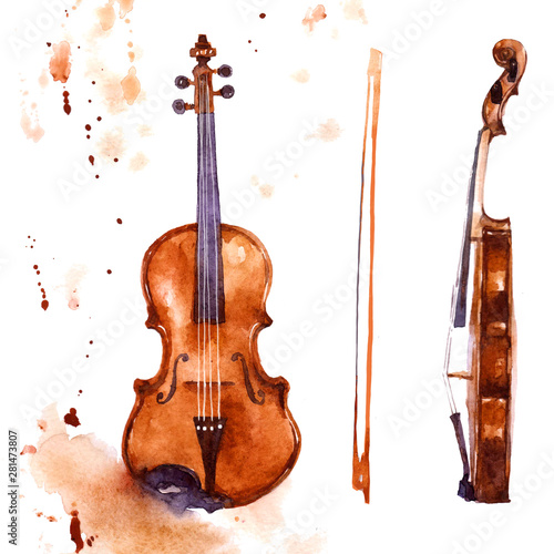 skrzypce-akwarela-instrument