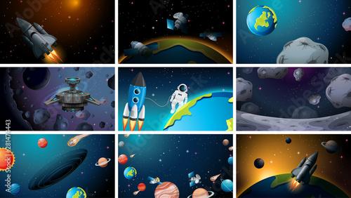 Set of universe space scenes