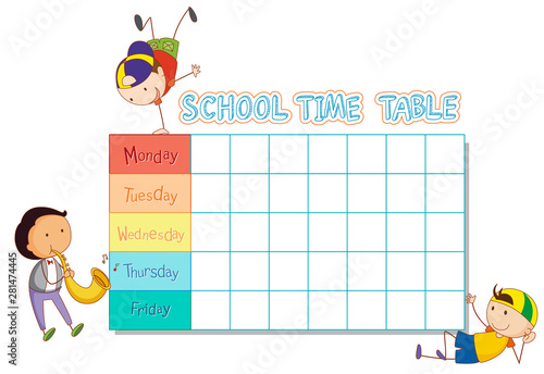 School time table with doodle boy