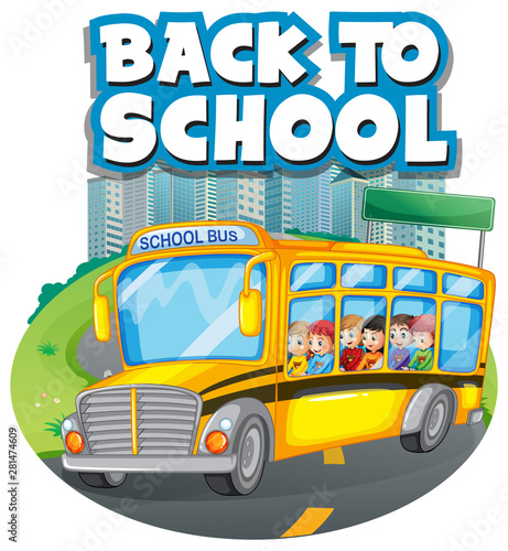 Poster Jeunes enfants Back to school template with school bus
