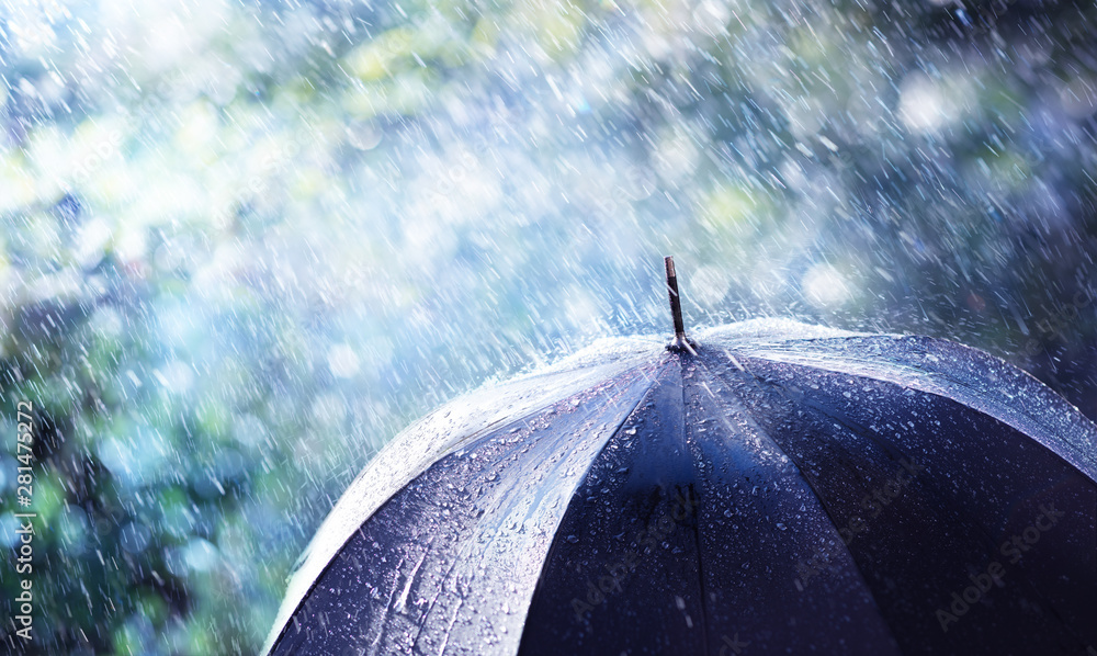 Fototapety, obrazy: Rain And Wind On Black Umbrella - Weather Concept