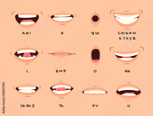 Cartoon talking mouth and lips expressions vector animations poses Canvas Print