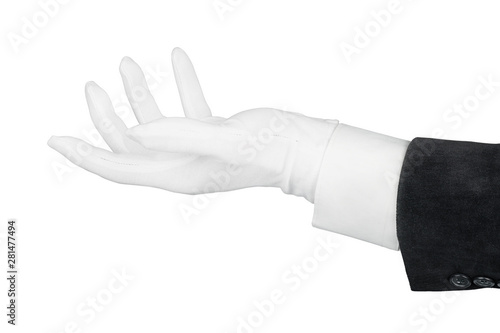 Close up of open man hand in black suit and white glove isolated on white with c Wallpaper Mural
