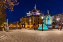 Night View Of The National Theatre In Oslo, Norway