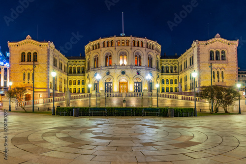 Night view of the norwegian parliament in Oslo Wallpaper Mural