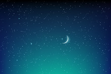Dark Starry Night Landscape With Stars And Moon Vector