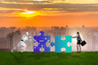 canvas print picture - Robot and human cooperating in jigsaw puzzle