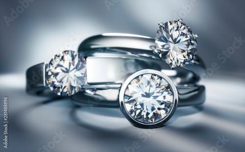 Fotografie, Obraz  Stillife mit 3 Diamantringen - Solitär