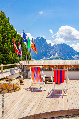 beautiful view to place of rest with sunbeds near funicular Col Raiser, captured Wallpaper Mural