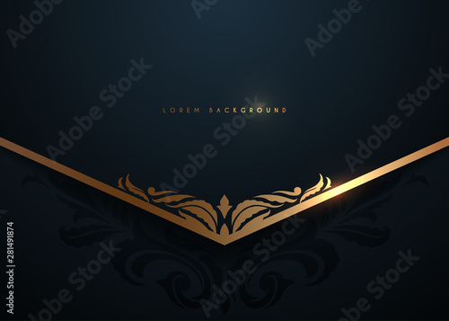 Fototapeta Black and gold luxury template background obraz