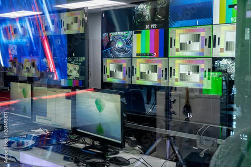 Valokuvatapetti television equipment in a television broadcasting studio