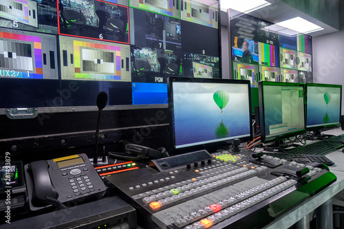 Fototapeta television equipment in a television broadcasting studio