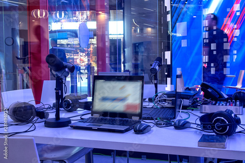 Vászonkép  television equipment in a television broadcasting studio