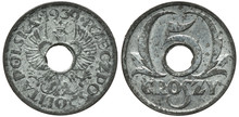 Poland Polish Zinc Coin 5 Five...