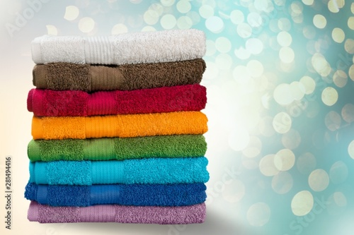 Pile of  fluffy towels on background Obraz na płótnie