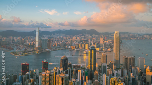 Panoramic view of Victoria Harbor and Hong Kong skyline