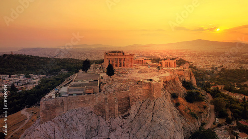 Poster Parc Naturel Aerial drone photo of iconic Acropolis hill and the unique masterpiece of Ancient world the Parthenon at sunset with beautiful golden colours, Athens historic centre, Attica, Greece