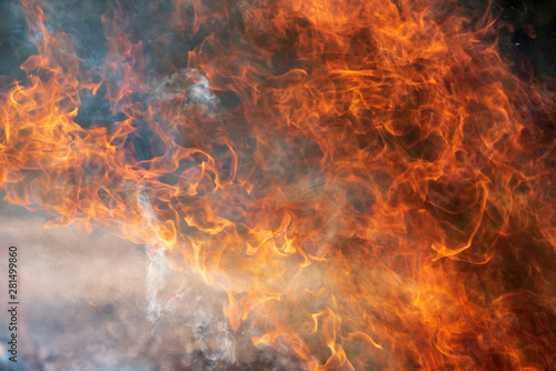 Photo sur Toile Feu, Flamme Flames and smoke, fire background