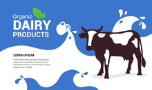 Vector Illustration Of Organic Dairy Products With Cow, Full Jug Of Milky Drink,milk Waves With Drops. Template Design For Farmers Market, Banner, Booklet,prints, Flyer, Landing Page, Website,blog Pos