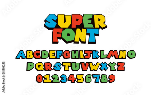 Fototapeta Super font Vector of modern abstract  alphabet	 obraz
