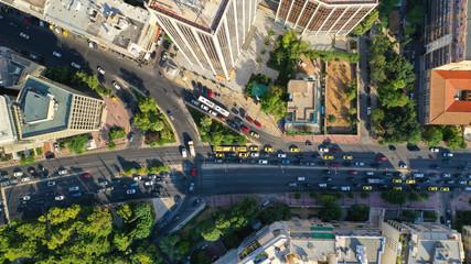 Aerial drone photo of Athens Metropolitan dense populated area in Kifisias and Alexandras avenues, Attica, Greece