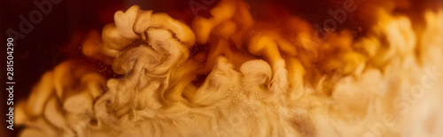close up view of coffee mixing with milk in glass, panoramic shot - 281504290