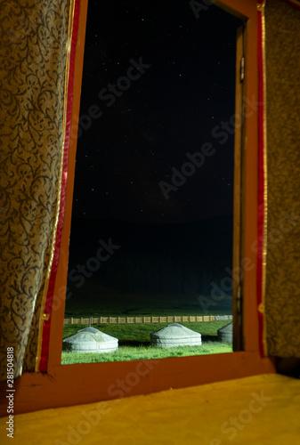 Keuken foto achterwand Peking Mongolian Gers and starry sky view through the inside of a Mongolian Ger - Tsenkher Hot Spring