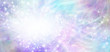 canvas print picture Beautiful blue pink ethereal special announcement background banner - multicoloured  banner with a soft blur white oval on left for copy and trails of sparkles and glitter rotating around