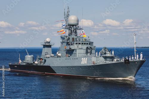 Fotografia A line ahead of modern russian military naval battleships warships in the row, n