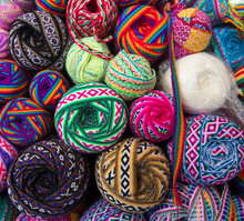 Close Up Of Colorful Balls Of Ribbons