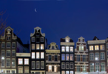 Exterior Of Traditional Dutch Gable Houses At Night