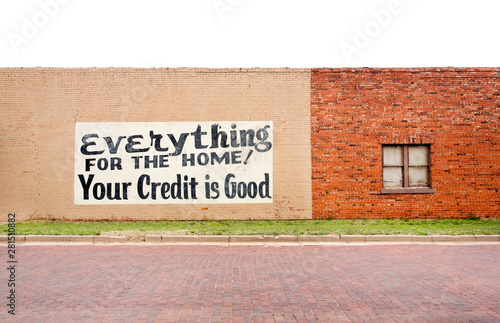 View of advertisement painted on brick wall - 281510882