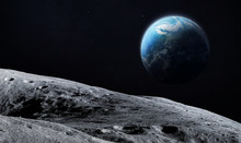 Moon Surface And Earth Planet On The Background. Deep Space. Elements Of This Image Furnished By NASA
