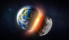 Collision Of Earth Planet And Asteroid. Explosion. Elements Of This Image Furnished By NASA