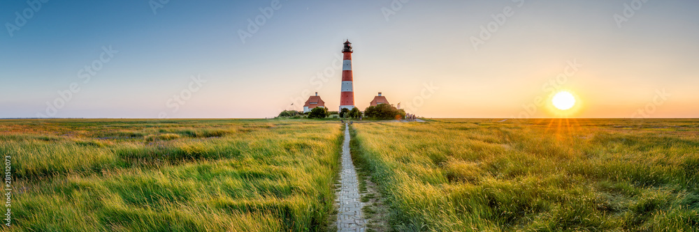Fototapety, obrazy: Panorama of the Westerheversand Lighthouse at Westerhever in Nordfriesland in the German state of Schleswig-Holstein