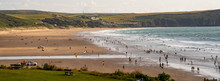 Woolacombe, Devon - July 27 2019: Holiday Makers At The Seaside In Sunny Woolacombe, Devon