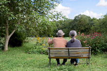 Rear View Of Senior Couple Sitting On Bench In Garden