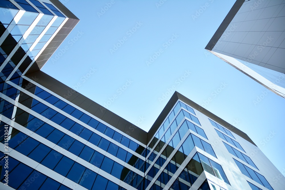 Fototapety, obrazy: modern office building with blue sky and clouds