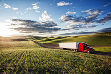 Commercial Truck Driving On Ro...
