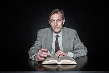 Portrait Of Man Reading Book I...
