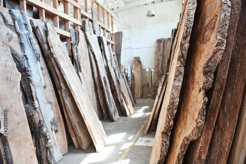 Wooden slabs in factory - 281518450